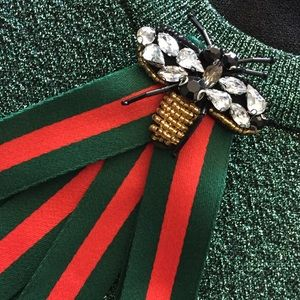 GUCCI brooch stripes crystals red green canvas